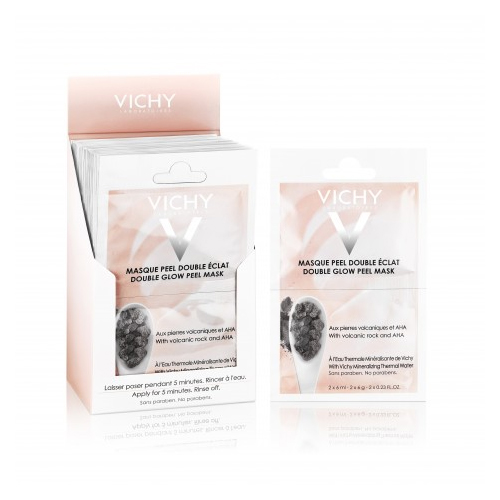 VICHY Очищающая Маска-пилинг саше 2х6млM9116200Минеральная маска-пилинг Двойное сияние - дополнительный уход для улучшения цвета и текстуры кожи. Фруктовые кислоты бережно эксфолиируют отмершие клетки кожи. Частицы вулканического происхождения мягко отшелушивают. Сочетание химического и физического пилингов позволяет максимально щадяще добиться выравнивания текстуры кожи и улучшения цвета лица. Восстанавливает минеральный баланс кожи.