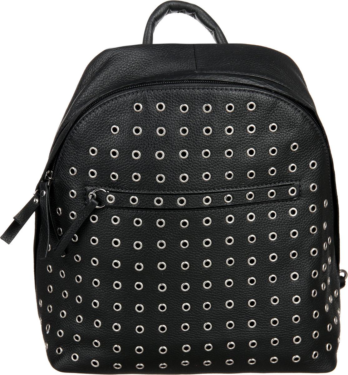 Рюкзак женский Palio, цвет: черный. 14390A1-018УТ-000055302_ черный, салатовыйСтильный рюкзак Palio выполнен из натуральной кожи, оформлен металлической фурнитурой.Изделие содержит одно отделение, которое закрывается на молнию. Внутри расположены: два накладных кармашка для мелочей и врезной карман на молнии. Снаружи, на задней стороне рюкзака расположен врезной карман на застежке-молнии. Лицевая сторона дополнена врезным карманом на молнии. Рюкзак оснащен петлей для подвешивания и двумя практичными лямками, длина которых регулируется при помощи пряжки.Оригинальный аксессуар позволит вам завершить образ и быть неотразимой.