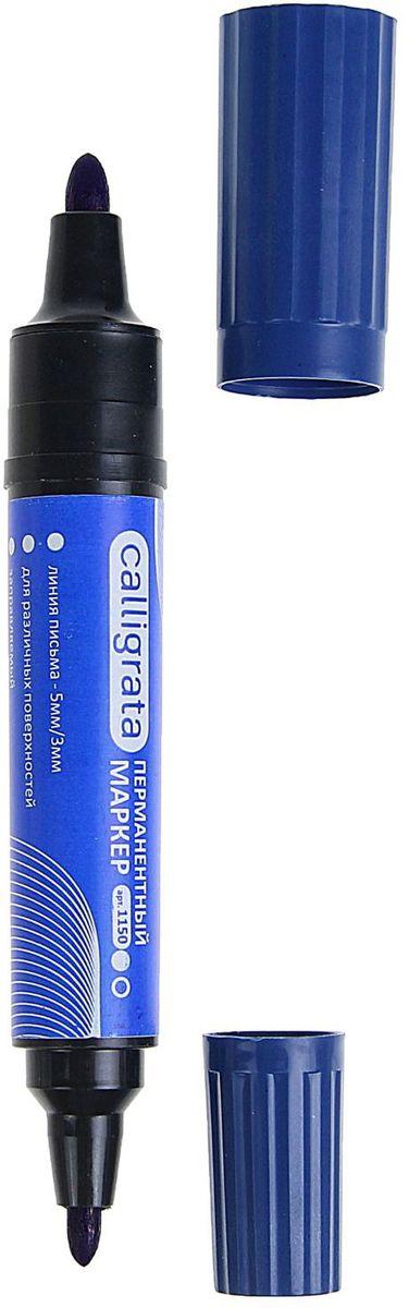 Calligrata Маркер перманентный двусторонний 1150 цвет синий1280350Перманентный двусторонний маркер Calligrata с пулевидной формой наконечника предназначен для письма на любой поверхности.Заправлен водостойкими чернилами на спиртовой основе, которые после нанесения быстро высыхают, не стираются и не растекаются. Надпись на любых поверхностях (стекле, дереве, металле, керамике, бумаге) гарантировано останется яркой и стойкой даже через несколько лет.Толщина линии варьируется от 3 до 5 мм.Цвет чернил - красный.