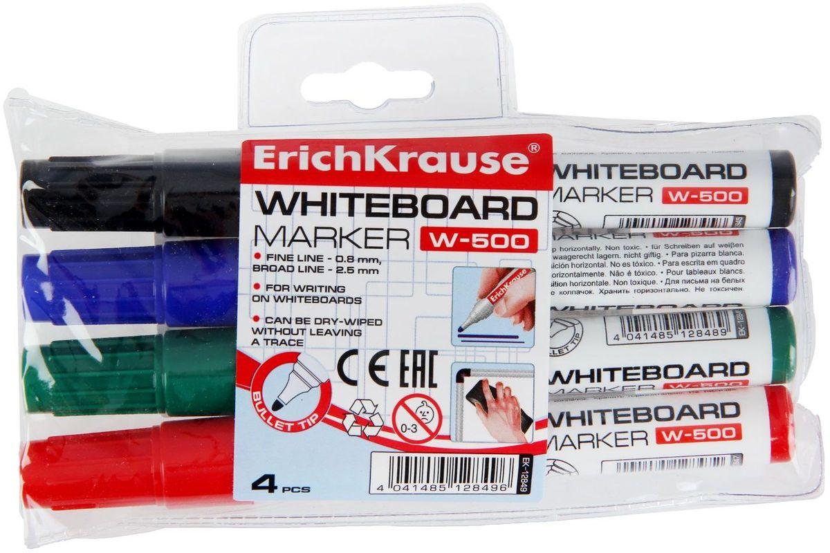 Erich Krause Набор маркеров для доски W-500 4 цвета1282546Маркеры Erich Krause W-500 с закругленным наконечником предназначены для письма на маркерных досках. Чернила на спиртовой основе быстро высыхают и при необходимости легко стираются губкой.