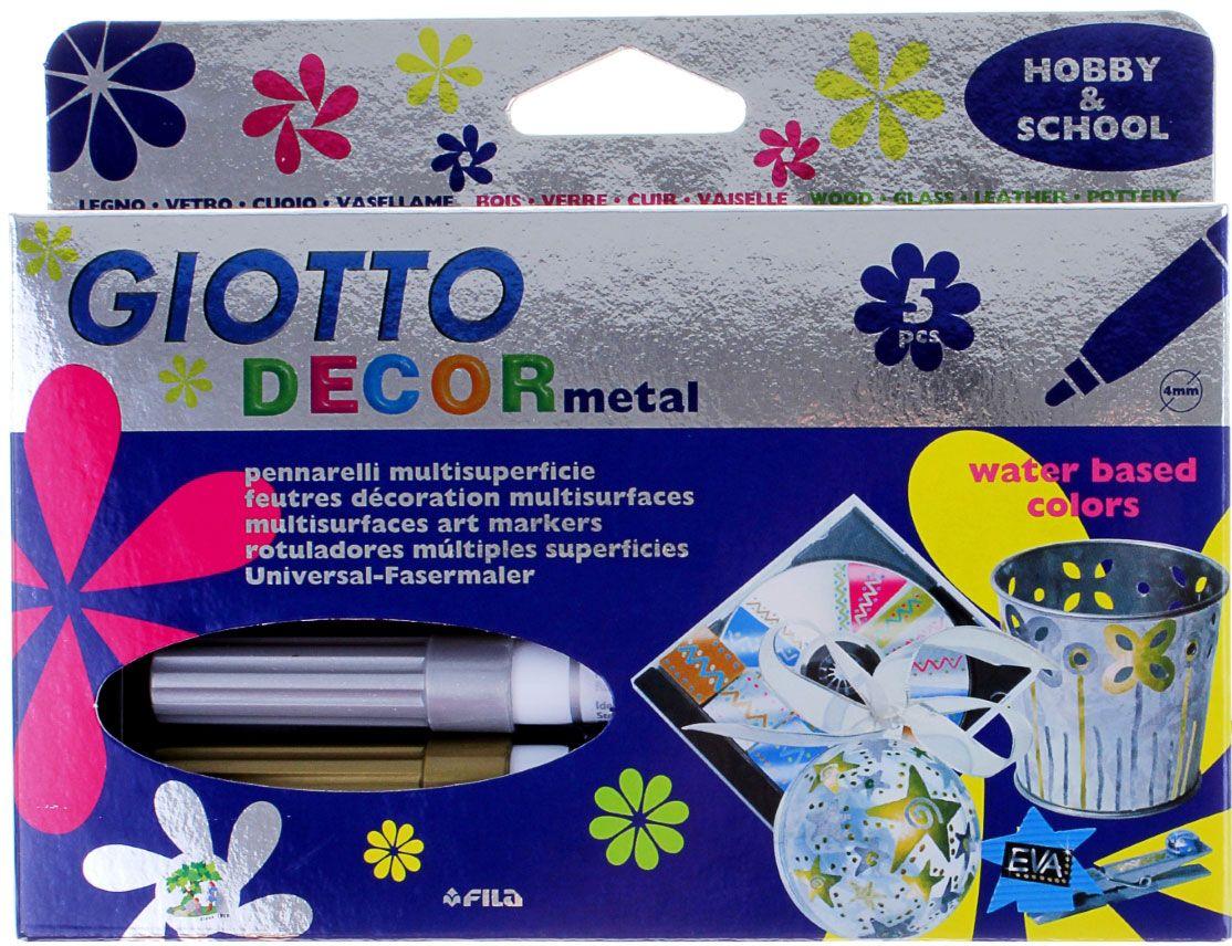 Giotto Набор маркеров для декора Decor Metallic 5 цветов505624Рисовать фломастерами - для детей огромное удовольствие. Любой рисунок становится живым и насыщенным благодаря качественным фломастерам. Кроме того, они способствуют развитию детской моторики и раскрывают творческий потенциал малыша. Фломастеры для декора, чернила металлик – отлично зарекомендовали себя среди детей и взрослых. Они идеально подходят для рисования благодаря своей яркой и сочной палитре, легко отстирываются от одежды и кожи, а также имеют прочный пластиковый корпус и пишущий узел.