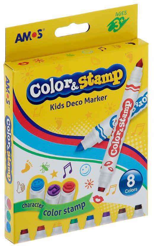 Amos Набор маркеров двусторонние со штампами 8 цветов910845