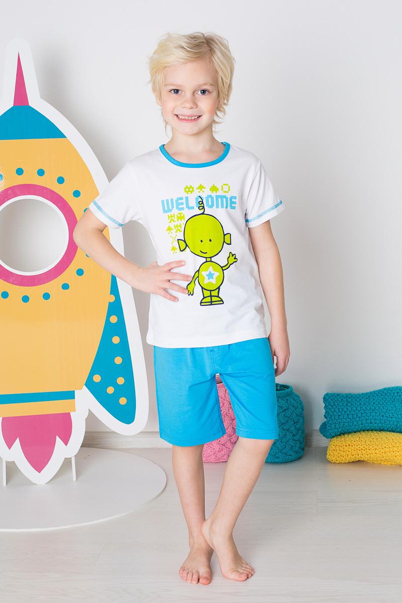 Пижама для мальчика Sweet Berry, цвет: белый, голубой. 196161. Размер 134196161Пижама для мальчика Sweet Berry состоит из футболки и шорт. Пижама изготовлена из натурального хлопка с небольшим добавлением эластана. Футболка с короткими рукавами и круглым вырезом горловины дополнена контрастной трикотажной каймой по горловине и на груди оформлена принтом с изображением гуманоида. Свободные прямые шорты с широкой эластичной резинкой на поясе выполнены в лаконичном цвете.