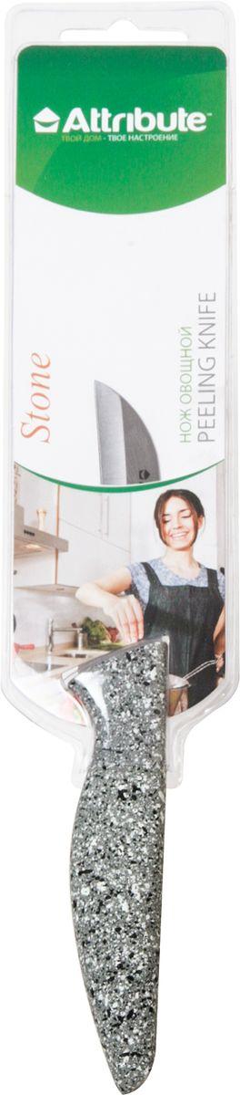 Нож овощной Attribute Knife Stone, 9 смAKN109Нож Attribute Knife Stone изготовлен из высококачественной нержавеющейстали.Рукоятка, выполнена из пластика. Не скользит в руках и делает резку удобной ибезопасной.Этот нож предназначен для очистки кожуры, декорирования и нарезанияфруктов и овощей и займет достойное место среди аксессуаров на вашей кухне.