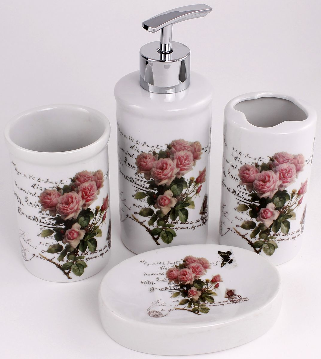 Набор для ванной Patricia, 4 предмета, цвет: белый, серый. IM99-2385/2 шкатулка поднос patricia цвет коричневый 23 х 28 х 20 см im99 2635