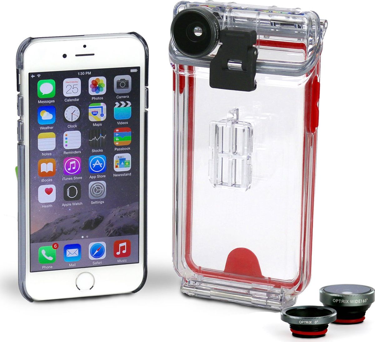 Optrix Photo, Clear Red набор для фотосъемки для iPhone 6/6s optrix bg black red защитная сумка для смартфона