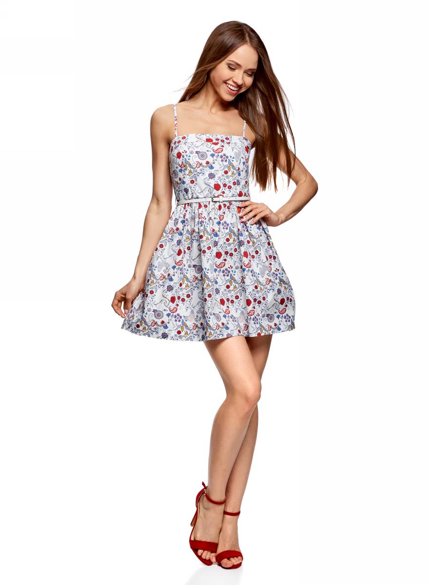 Сарафан женский oodji Ultra, цвет: белый, синий, цветы. 11902101-6/14912/1275F. Размер 44-170 (50-170) платье oodji ultra цвет синий джинс 12909057 47408 7500w размер 44 170 50 170