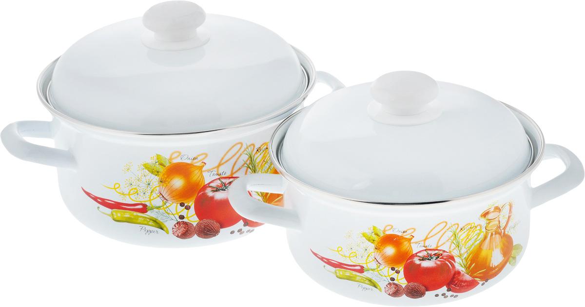 Набор посуды Лысьвенские эмали Итальянская кухня, 4 предмета набор кастрюль лысьвенские эмали итальянская кухня с напылением