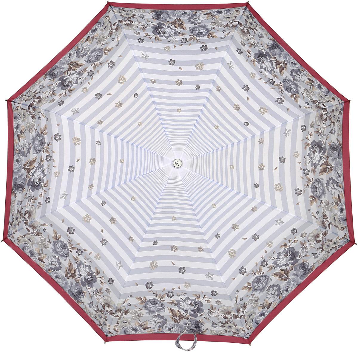 Зонт женский Fabretti, автомат, 3 сложении, цвет: серый, белый, розовый. L-17105-9