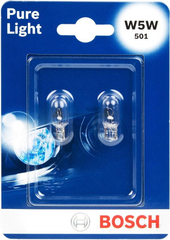 Лампа Bosch W5W 5Вт 2шт. 19873010261987301026Новые лампы Bosch выглядят наиболее эффектно в сочетании с фарами из прозрачного стекла и подчеркивают современный дизайн автомобилей. Основным предназначением габаритных огней является обозначение транспортного средства во время стоянки в темное время сутокили в сложных погодных условиях, таких как ливень или густой туман, при этом лучше заметен сам автомобиль с фарами Bosch. Напряжение: 12 вольт
