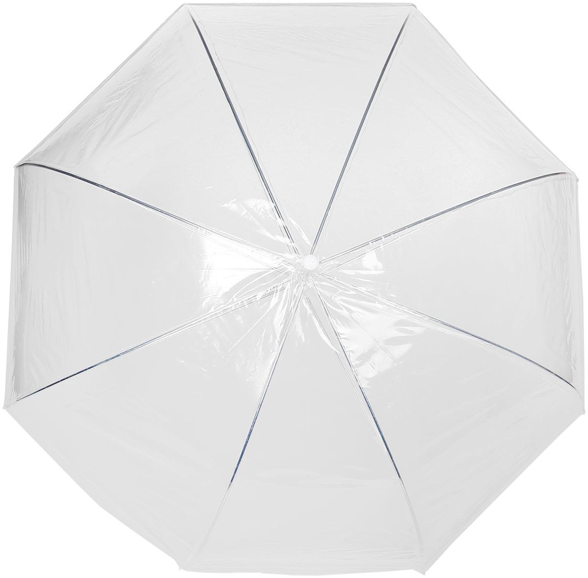 Зонт женский Эврика, трость, цвет: прозрачный, белый. 94861