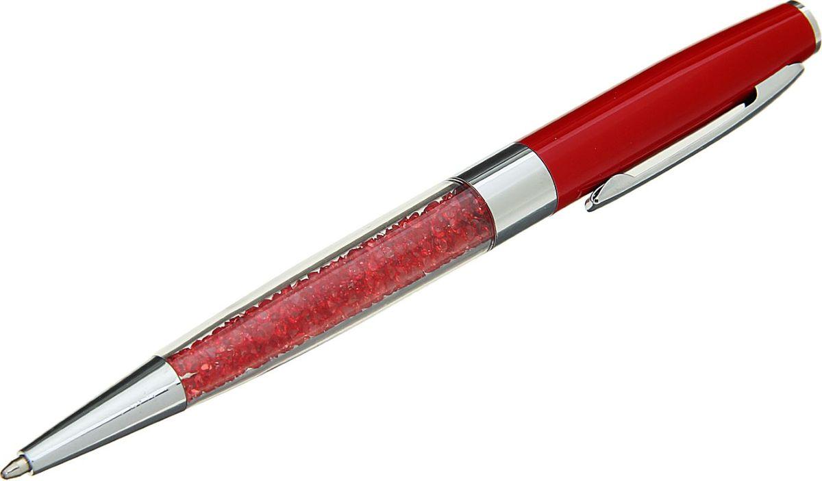 Ручка шариковая Стразы цвет корпуса красный1509123Изделия данной категории необходимы любому человеку независимо от рода его деятельности.Ручка шариковая в пластиковом футляре с поворотным механизмом будет всегда под рукой в нужный момент.