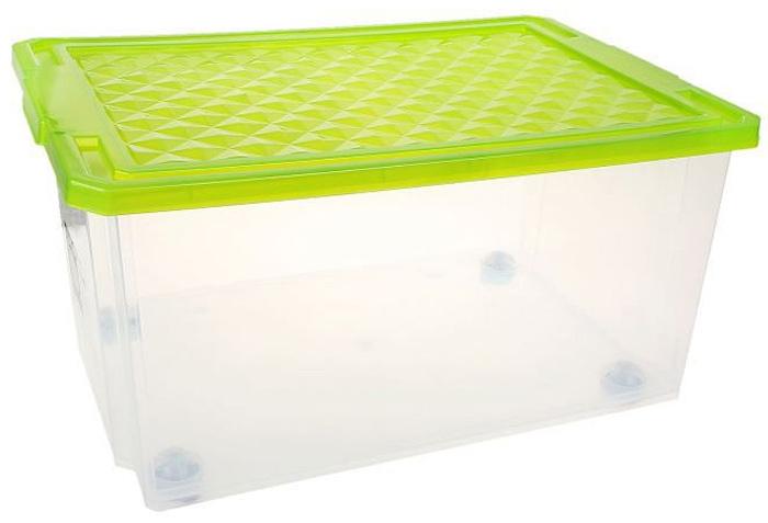 Ящик для хранения BranQ Optima, на колесиках, цвет: зеленый, прозрачный, 57 л