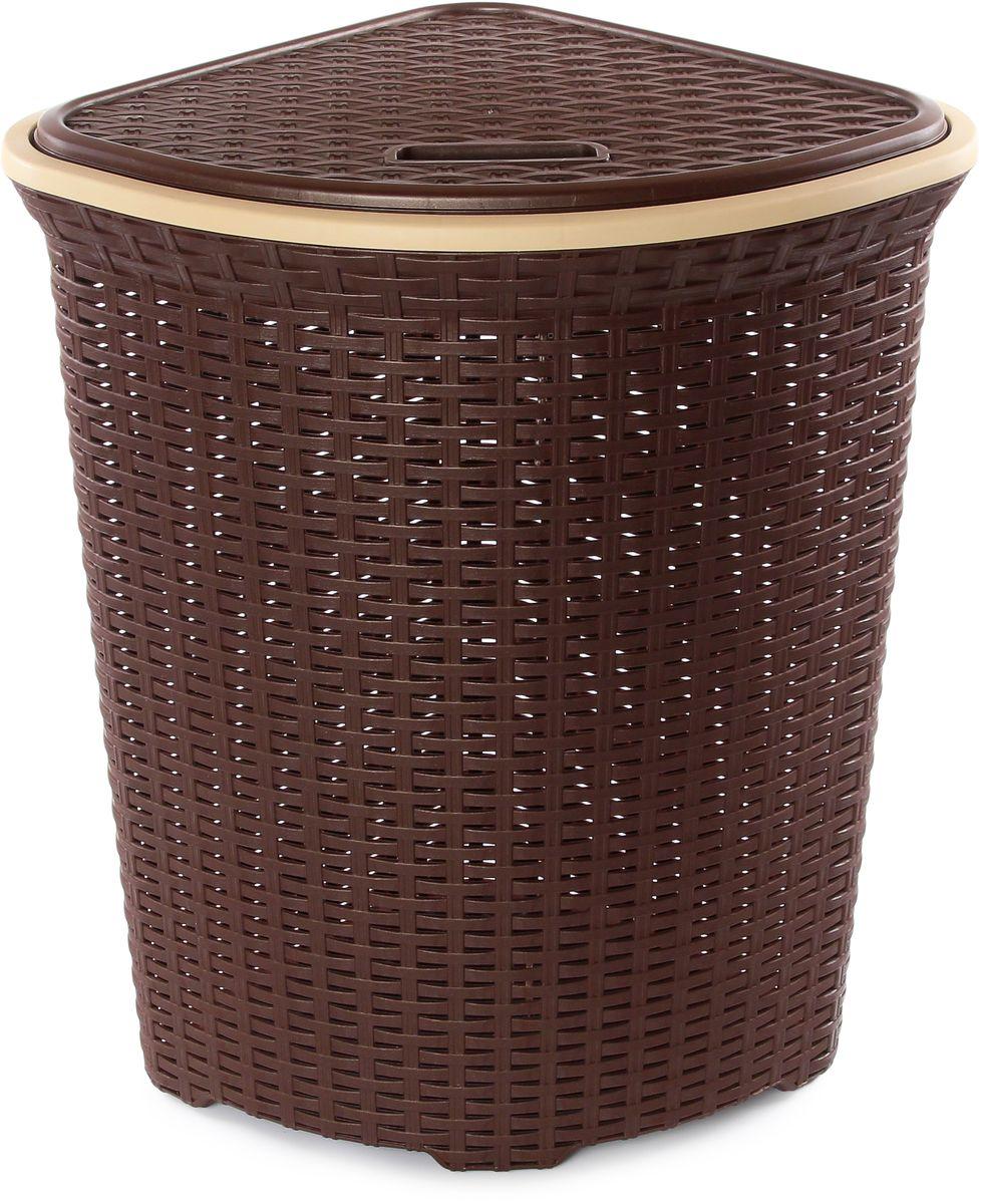 Корзина для белья Violet Ротанг, угловая, цвет: коричневый, 60 л810246Угловая корзина Violet Ротанг с крышкой, изготовленная из полипропилена, имитирующая плетение ротанг, предназначена для хранения белья. Организует пространство и впишется в любой интерьер. Это легкая корзина со сплошным дном, жесткой кромкой, с небольшими отверстиями на стенках.