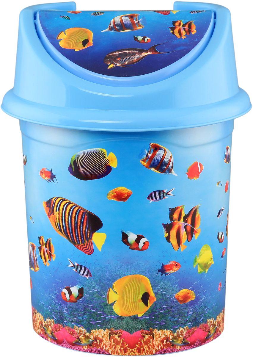 Ведро для мусора Violet Океан, с крышкой, 14 л810398Удобное ведро для мусора Violet Океан, выполненное из высококачественного износостойкого пластика, оснащено крышкой. Ведро подходит для использования в ванной комнате или на кухне. Стильный дизайн и яркая расцветка прекрасно подойдет для любого интерьера ванной комнаты или кухни.