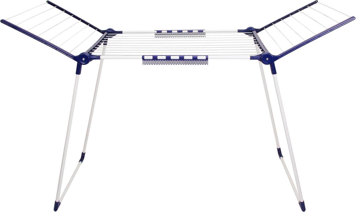 Сушилка напольная Violet Люкс, 24 м811073Сушилка Violet легко и просто собирается, разбирается, благодаря чему может использоваться как в доме, так и на улице. При хранении не занимает много места. Сушилка компактна в сложенном состоянии и вместительна в развернутом. Обеспечивает возможность легко без проблем развесить все бельё для сушки после полной загрузки автоматической стиральной машины.Размер в разложенном виде (ШхГхВ): 170 х 67 х 111 см.