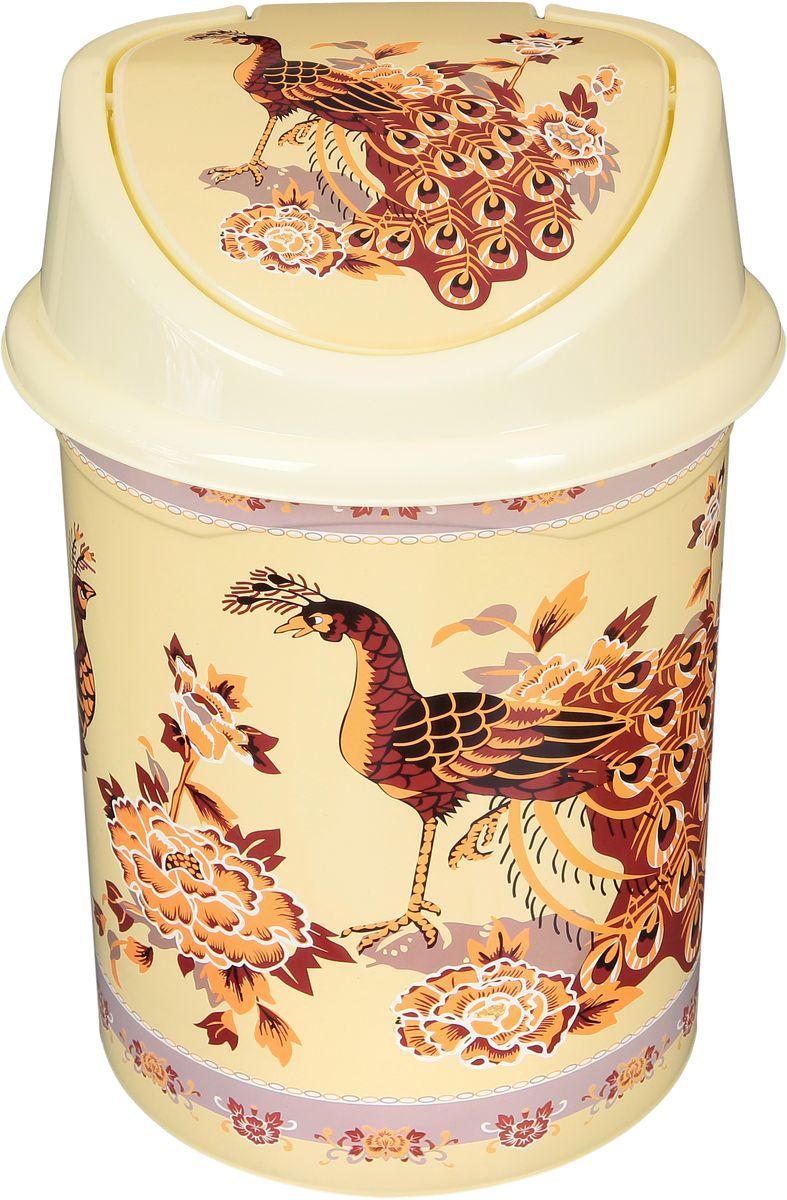 Ведро для мусора Violet Павлин на бежевом, с крышкой, 14 л811095Удобное ведро для мусора Violet Павлин на бежевом, выполненное из высококачественного износостойкого пластика, оснащено крышкой. Ведро подходит для использования в ванной комнате или на кухне. Стильный дизайн и яркая расцветка прекрасно подойдет для любого интерьера ванной комнаты или кухни.