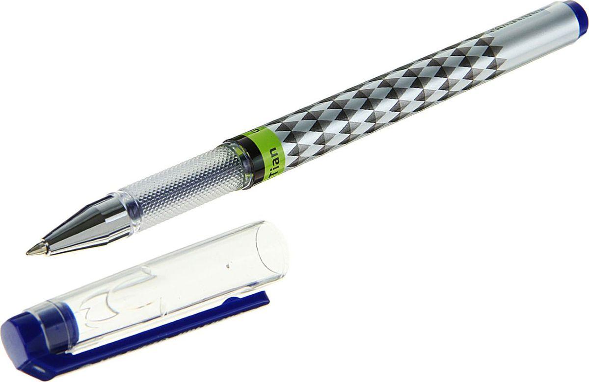 Ручка гелевая синяя 16999201699920Гелевая ручка будет полезна любому человеку независимо от рода его деятельности. Корпус с рифленым держателем оформлен ромбиками.