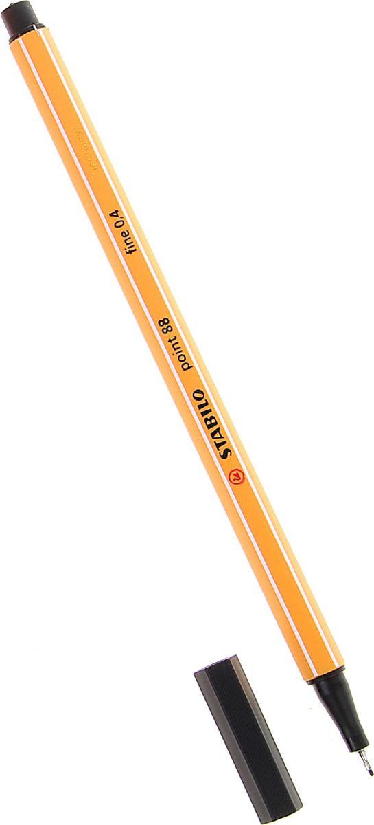 STABILO Ручка капиллярная Point 88 цвет чернил черный1060353Капиллярная ручка STABILO Point 88 идеально подходит для легкого и мягкого письма, черчения, рисования и раскрашивания.Металлический фиксатор наконечника дает возможность работать с линейками и трафаретами. Высокое качество и большой запас чернил существенно увеличивают срок службы ручки. Чернила на водной основе.Цвет колпачка соответствует цвету пасты. Толщина линии - 0,4 мм.