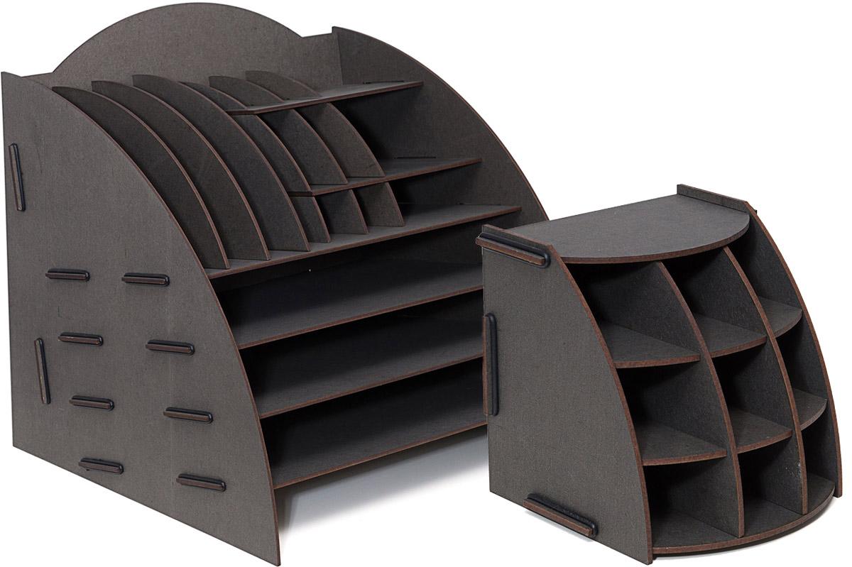 Набор настольных органайзеров Homsu, цвет: черный, 2 штDEN-09Этот комплект просто незаменим на рабочем столе, он вместителен и в то же время, не занимает много места. Яркий дизайн дополнит интерьер дома и разбавит цвет в скучном сером офисе. Органайзеры отлично смотрится в любом интерьере, изготовлены из МДФ и легко собираются из съемных частей. Места на вашем рабочем столе станет больше с появлением этих органайзеров.
