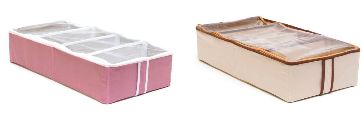 Набор органайзеров для хранения обуви Homsu, на 8 пар, 51 х 25 х 12 см, 2 штDEN-14Набор органайзеров Homsu, выполненный из высококачественного материала, предназначен для удобного и компактного хранения обуви. Четыре отделения у каждого органайзера вмещают 4 пары обуви. Органайзеры плоские, их удобно хранить под кроватью или диваном. Внутренние секции можно моделировать под размеры обуви, например высокие сапоги. Они имеют жесткие борта и крышку с застежкой - молнией, что является гарантией сохранности вещей.