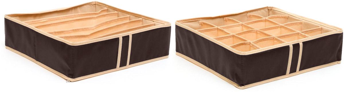 Набор органайзеров Homsu, для нижнего белья, цвет: коричневый, 35 х 35 х 10 см, 2 штDEN-24Набор органайзеров Homsu, выполненный из полиэстера и картона, предназначен для удобного и компактного хранения белья и мелких вещей. Классический цвет отлично дополняет интерьер, придавая ему оригинальный стиль. В набор входят 2 органайзера:Органайзер на 6 ячеек - он сохранит форму вашего белья, он компактен, не занимает много места, и в то же время может вместить несколько бюстгальтеров.Органайзер на 16 ячеек для белья и мелких предметов - в него можно сложить носки, трусики и прочие небольшие предметы гардероба, множество ячеек не позволит белью смяться и перепутаться.Выбирая набор органайзеров, вы приобретаете практичное хранение вещей, стильные аксессуары для интерьера и свободное пространство.