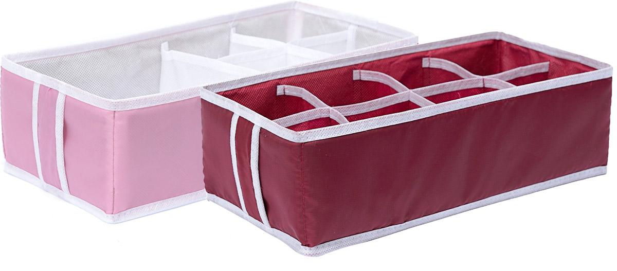Набор органайзеров Homsu Love, 33 х 16 х 11 см, 2 штDEN-25Набор органайзеров Homsu Love, выполненный из полиэстера и картона, предназначен для удобного и компактного хранения белья и мелких вещей. В набор входят 2 органайзера: Органайзер на 8 ячеек - он сохранит форму вашего белья,компактен, не занимает много места, и в то же время может вместить несколько вещей.Органайзер на 5 ячеек - в него можно сложить носки, трусики, колготки и прочие небольшие предметы гардероба, множество ячеек не позволит белью смяться и перепутаться. Выбирая набор органайзеров, вы приобретаете практичное хранение вещей, стильные аксессуары для интерьера и свободное пространство.