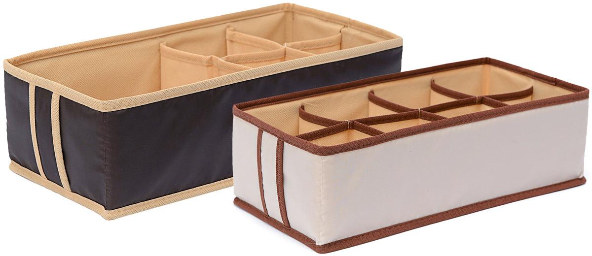 Набор органайзеров Homsu Гармония, 33 х 16 х 11 см, 2 штDEN-26Набор органайзеров Homsu Гармония, выполненный из полиэстера и картона, предназначен для удобного и компактного хранения белья и мелких вещей. В набор входят 2 органайзера.Органайзер на 8 ячеек - он сохранит форму вашего белья, он компактен, не занимает много места, и в то же время может вместить несколько вещей.Органайзер на 5 ячеек - в него можно сложить носки, трусики, колготки и прочие небольшие предметы гардероба, множество ячеек не позволит белью смяться и перепутаться. Выбирая набор органайзеров, вы приобретаете практичное хранение вещей, стильные аксессуары для интерьера и свободное пространство.