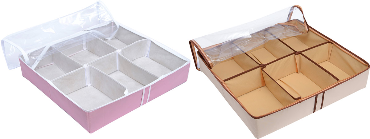 Набор органайзеров Homsu, 54 х 51 х 13 см, 2 штDEN-27Набор органайзеров, выполненный из высококачественного материала, предназначен для удобного и компактного хранения обуви. Шесть отделений у каждого органайзеравмещают 6 пар обуви. Органайзеры плоские и имеют застежку-молнию, их удобно хранить под кроватью или диваном. Внутренние секции можно моделировать под размеры обуви. Они имеют жесткие борта, что является гарантией сохранности вещей.Размер органайзеров: 54 х 51 х 13 см.