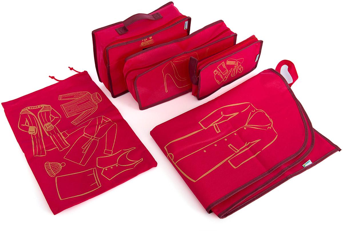 Набор органайзеров Homsu, для путешествия, цвет: красный, 5 предметовDEN-32Вместе с оригинальным современным дизайном такой комплект органайзеров принесёт также очень существенную практическую пользу в любом путешествии. Благодаря трем сумочкам разных размеров: 25x12x5 см; 28x20x9 см и 35x15x11 см, а также чехлу размером 90x60x1 и органайзеру для вещей размером 45x30x1 вы сможете распределить все вещи, которые возьмёте с собой таким образом, чтобы всегда иметь быстрый доступ к ним, и при этом надёжно защитить от пыли, грязи, влажности или механических повреждений. Все предметы данного комплекта изготовлены из прочных и качественных материалов. 250x120x50; 280x200x90; 350x150x110; 900x600x10; 450x300x10