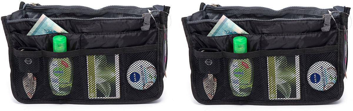 Набор косметичек Homsu, цвет: черный, 28 х 8 х 16 см, 2 штDEN-36Набор выполнен из ткани и полиэстера. Модный и стильный современный дизайн, а также высокая практичная польза - в этих органайзерах очень органично объединены несколько плюсов. Изделия обладают крепкой ручкой, поэтому их легко можно использовать и отдельно от сумки. Набор выполнен из ткани и полиэстера. Если же вставить органайзеры в сумку, вы получите превосходную возможность раз и навсегда навести в ней идеальный порядок, который будет легко поддерживать, распределив все вещи по отдельным кармашкам.