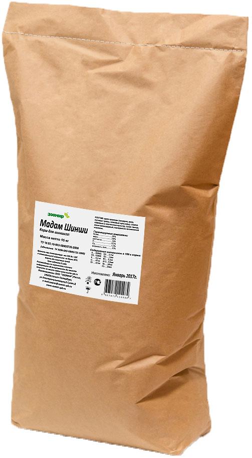 Корм для шиншилл Зоомир Мадам шинши, 15 кг655Комплексный гранулированный корм Зоомир Мадам шинши сбалансирован по всем питательным веществам, обеспечит питомцу крепкое здоровье, высокий имуннитет и красивую пушистую шубку. Состав корма разработан специалистами с учетом всех пищевых потребностей шиншилл и включает в себя все необходимые витамины, микро- и макроэлементы. Состав: мука травяная (люцерна, вика, луговые травы, злаковые культуры), семена злаковых и масличных культур, сухие овощи, минерально-витаминный комплекс.Товар сертифицирован.