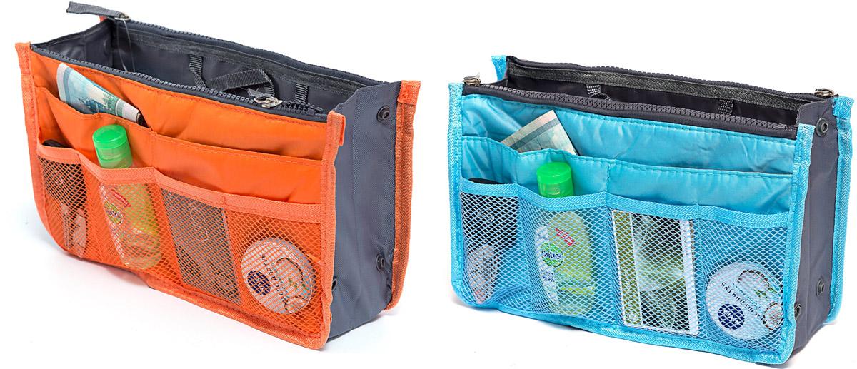 Набор косметичек Homsu, цвет: голубой, оранжевый, 28 х 10 х 17 см, 2 штDEN-39Модный и стильный современный дизайн, а также высокая практичная польза – в этих органайзерах очень органично объединены несколько плюсов. Изделия обладают крепкой ручкой, поэтому их легко можно использовать и отдельно от сумки. Если же вставить органайзеры в сумку, вы получите превосходную возможность раз и навсегда навести в ней идеальный порядок, который будет легко поддерживать, распределив все вещи по отдельным кармашкам. Набор выполнен из ткани и полиэстера.