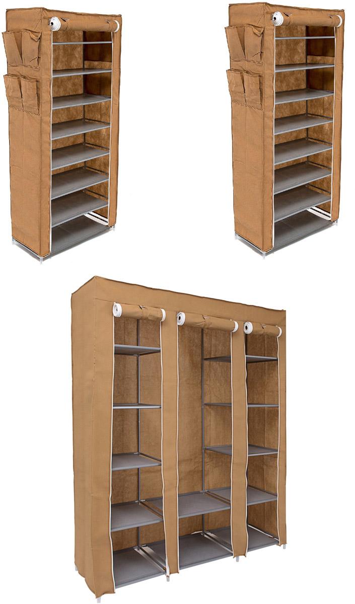 Гардеробная система хранения Homsu, цвет: коричневый, 3 предмета. DEN-49DEN-49Гардеробная система хранения выполнена из ткани, металла и пластика. Уникальный дизайн этого комплекта станет настоящим украшением для любого интерьера. Практичная составляющая подобной мебели также вне сомнений. Лёгкие и прочные устойчивые конструкции из каркасов и тканевой обивки могут быть легко собраны вами без посторонней помощи, буквально за несколько минут. Такая мебель будет отличным решением для того, кому по душе мобильность и постоянная смена обстановки. Размер модуля 1: 135 х 45 х 175 смРазмер модуля 2: 60 х 30 х 136 смРазмер модуля 3: 60 х 30 х 136 см.