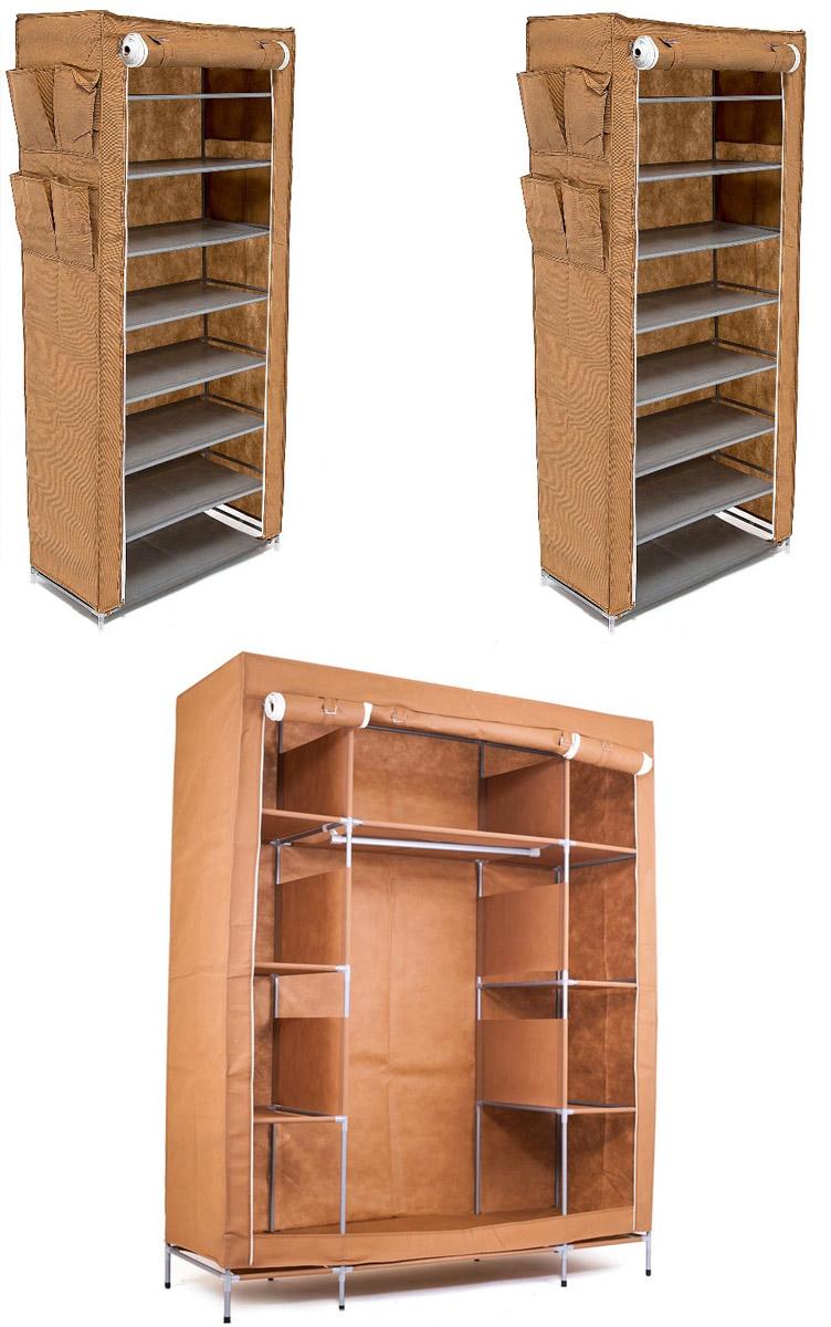 Гардеробная система хранения Территория порядка, цвет: коричневый, 3 предметаDEN-50Гардеробная система хранения выполнена из ткани, металла и пластика. Уникальный дизайн этого комплекта станет настоящим украшением для любого интерьера. Практичная составляющая подобной мебели также вне сомнений. Лёгкие и прочные устойчивые конструкции из каркасов и тканевой обивки могут быть легко собраны вами без посторонней помощи, буквально за несколько минут. Такая мебель будет отличным решением для того, кому по душе мобильность и постоянная смена обстановки. Размер модуля 1: 140 х 50 х 175 смРазмер модуля 2: 60 х 30 х 136 смРазмер модуля 3: 60 х 30 х 136 см.