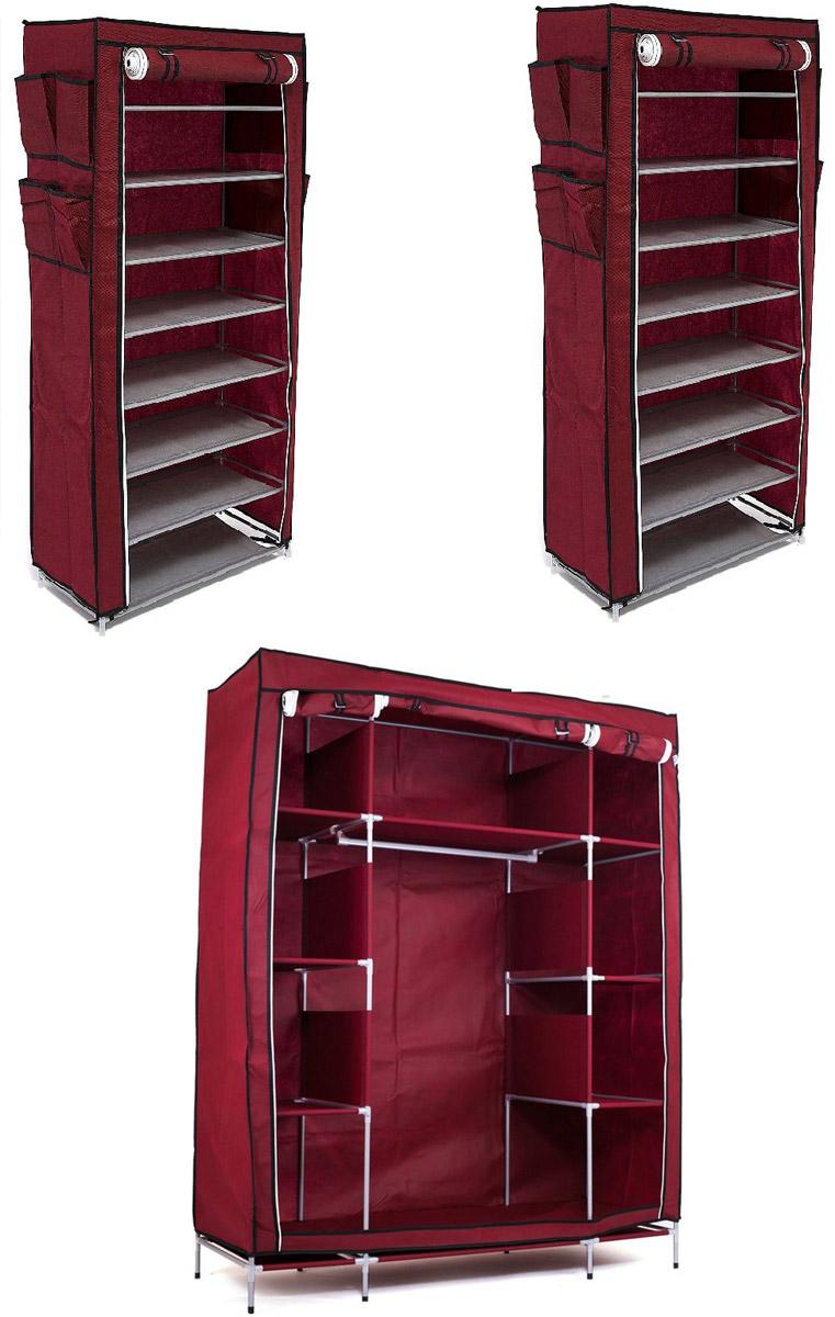 Гардеробная система хранения Территория порядка, цвет: бордовый, 3 предметаDEN-51Гардеробная система хранения выполнена из ткани, металла и пластика. Уникальный дизайн этого комплекта станет настоящим украшением для любого интерьера. Практичная составляющая подобной мебели также вне сомнений. Лёгкие и прочные устойчивые конструкции из каркасов и тканевой обивки могут быть легко собраны вами без посторонней помощи, буквально за несколько минут. Такая мебель будет отличным решением для того, кому по душе мобильность и постоянная смена обстановки. Размер модуля 1: 140 х 50 х 175 смРазмер модуля 2: 60 х 30 х 136 смРазмер модуля 3: 60 х 30 х 136 см.