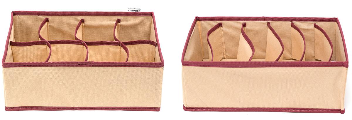 Набор органайзеров Homsu Стандарт, 31 х 24 х 11 см, 2 шт. DEN-67DEN-67Набор органайзеров Homsu  Стандарт, выполненный из картона и спанбонда, состоит из двух коробок с раздельными ячейками различной величины. Они отлично подойдут для хранения самых разнообразных вещей. Имеют жесткие борта, что является гарантией сохранности вещей.