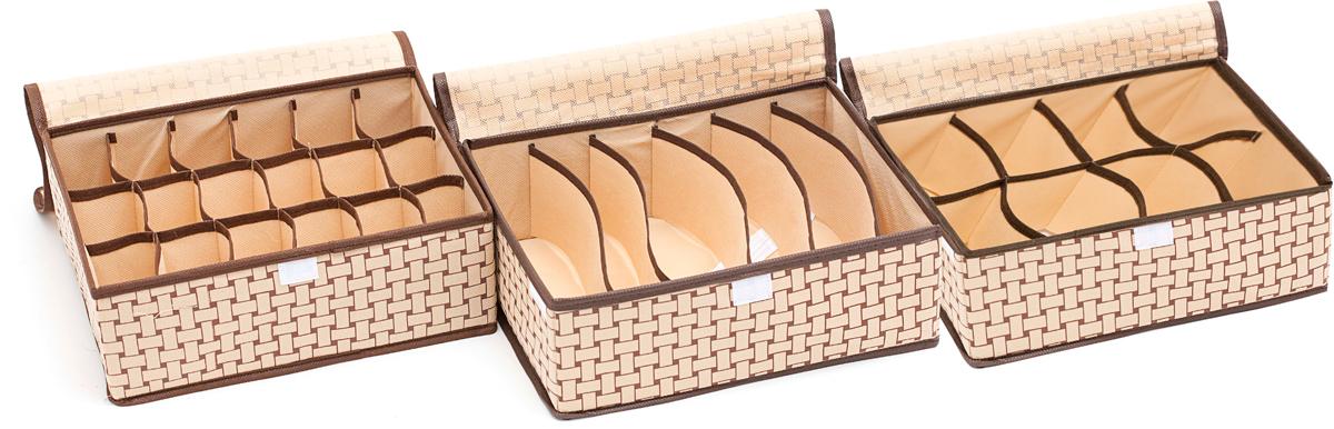 Набор органайзеров Homsu Ностальгия, с крышкой, 31 х 24 х 11 см, 3 штDEN-70Набор органайзеров Homsu  Ностальгия, выполненный из картона и спанбонда, состоит из трех коробок с раздельными ячейками различной величины. Они отлично подойдут для хранения самых разнообразных вещей. Имеют жесткие борта и крышку на липучке, что является гарантией сохранности вещей. Изделия оформлены принтом.