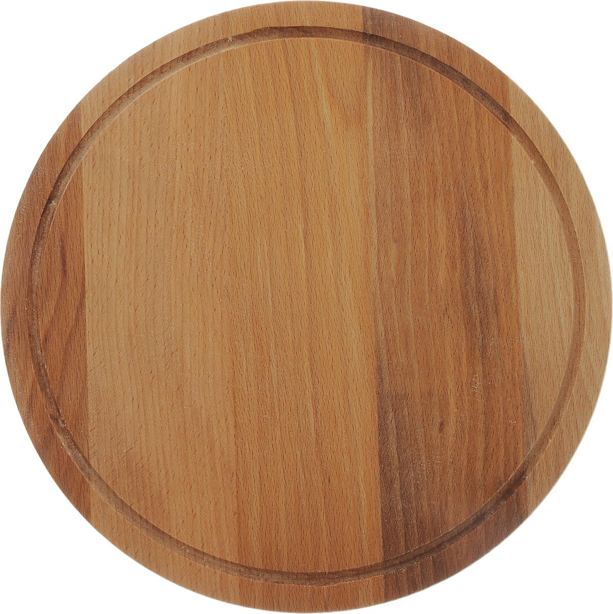 Доска разделочная Хозяюшка, диаметр 30 см03-1Доска разделочная Хозяюшка выполнена из бука. Бук наряду с дубом и тиком относится к ценным твердолиственным породам элитной группы категории А, класса люкс. По структуре древесины бук считается менее рыхлым, чем дуб, и более гибким, чем тик, при этом не уступает по прочности этим двум породам, а по красоте даже превосходит их. Бук отличают, прежде всего, уникальная текстура и естественный белый с желтовато-красным оттенком, со временем переходящим в розовато-коричневый, цвет древесины. Бук прекрасно поддается шлифовке и полировке. Бук боится влаги, но, как в случае со всеми без исключения досками из древесины, вопрос влагостойкости решается пропиткой дерева специальным минеральным или льняным маслом. Масло защищает доску от коробления, рассыхания и растрескивания. Именно поэтому все доски Хозяюшка обработаны льняным маслом. Нельзя мыть в посудомоечной машине. Для продления срока эксплуатации рекомендуется периодически смазывать доску растительным маслом.