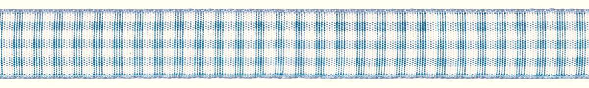 Лента декоративная Prym Клетка, цвет: белый, голубой, 15 мм, 3 м907353Лента для украшения, поделок, оформления и упаковки подарков