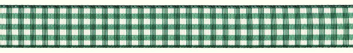 Лента декоративная Prym Клетка, цвет: белый, зеленый, 15 мм, 3 м