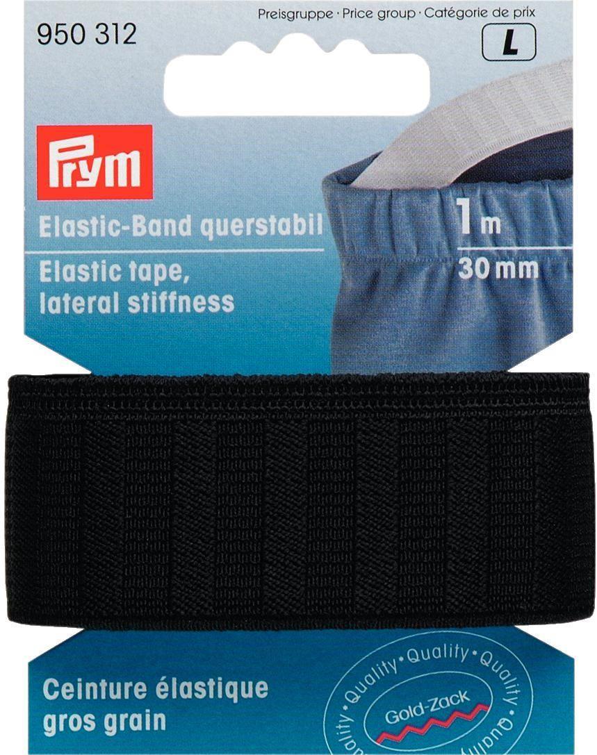 Лента эластичная Prym, корсажная, цвет: черный, 30 мм, 1 м950312Прочная,стабильная;минимальная эластичность;используется для уплотнения ,например поясов.Тканая.