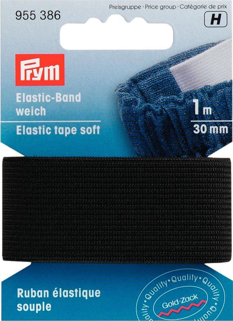 Лента эластичная Prym, цвет: черный, ширина 30 мм, длина 1 м955386Эластичная лента Prym выполнена из 57% полиэстера и 43% эластана. Она очень мягкая на ощупь. Лента прочная и универсальная в применении.Длина: 1 м.Ширина: 30 мм.