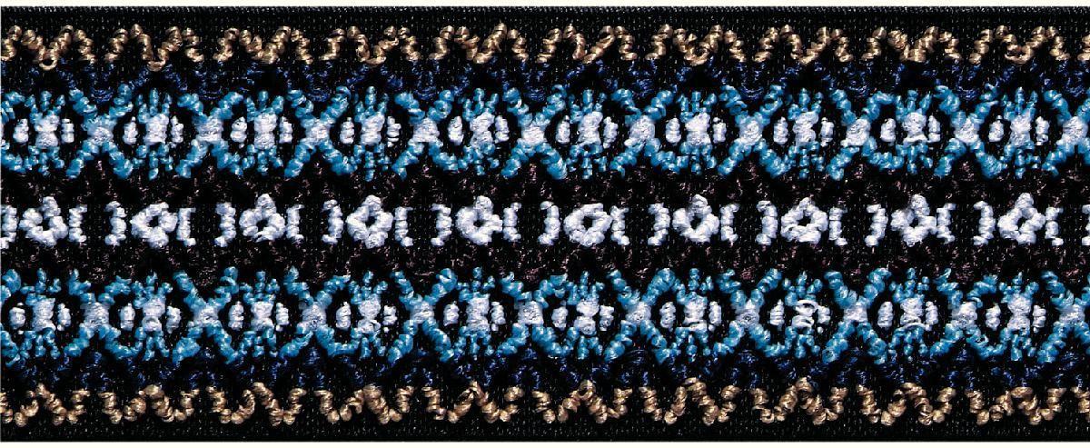 Лента эластичная Prym Color. Узор, цвет: синий, 50 мм, 7 м957450Для украшения трикотажных тканей, поясов для брюк и юбок, аксессуаров и т.д.