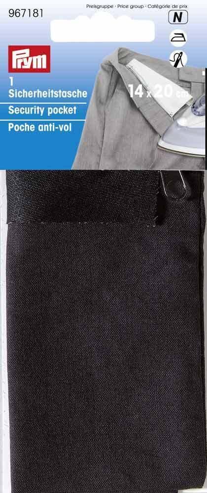 Карман потайной Prym, термоклеевой, цвет: черный, 17 х 14 см967181Для надежного хранения в дороге ценных вещей,документов,денег.Для приутюживания.