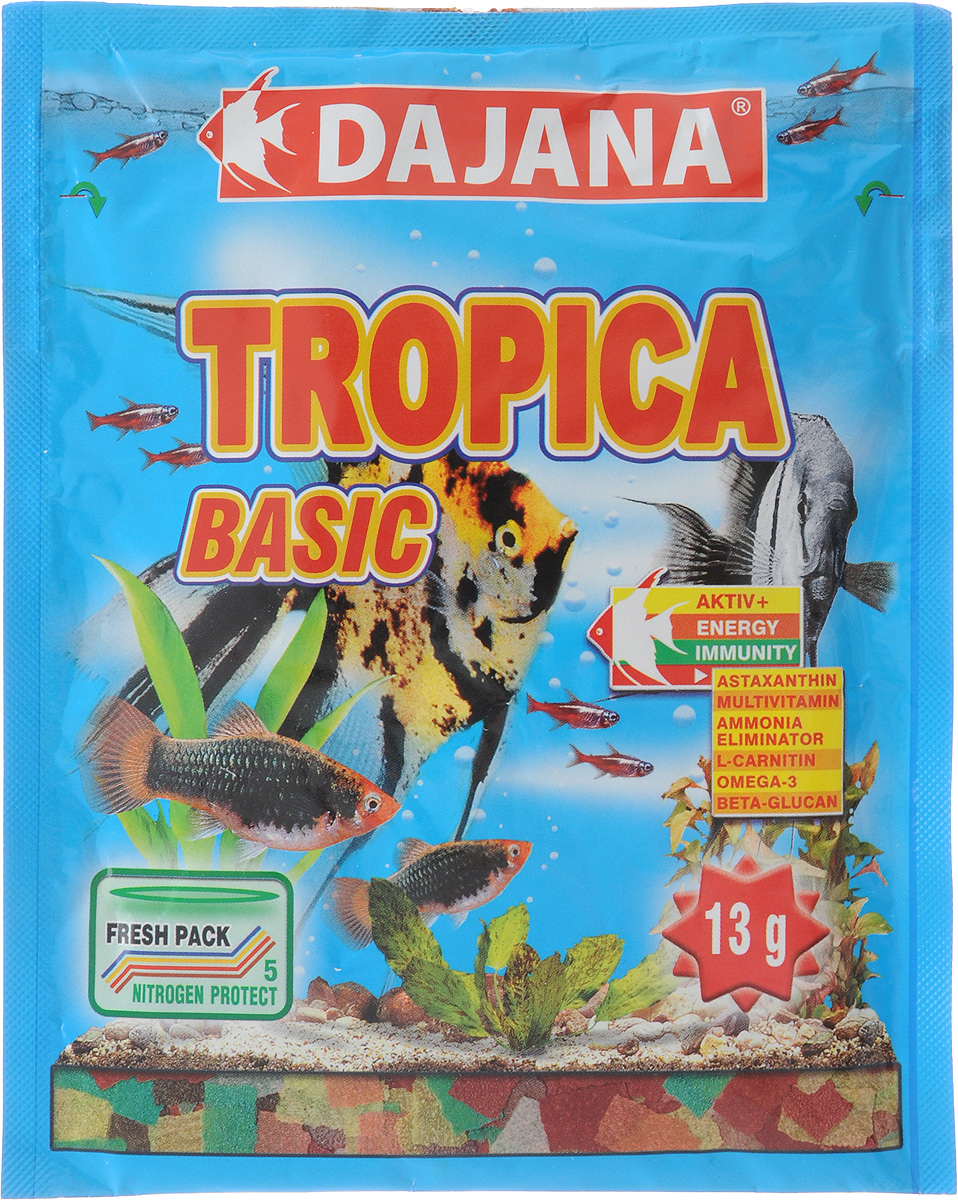 Корм для рыб Dajana Tropica Flakes, 13 гDP000SКорм для рыб Dajana Tropica Flakes - это основной корм для всех видов декоративных рыб. Состоит из 7 видов специальных хлопьев. Новая формула содержит сбалансированное количество специально подобранного природного сырья, содержащего питательные вещества, натуральные витамины и минералы, отвечающие за здоровье, яркий окрас и активный рост рыбок. Корм не мутит воду в аквариуме. Способ применения: Кормите рыбок несколько раз в день так, чтобы они съедали корм в течение нескольких минут. Товар сертифицирован.