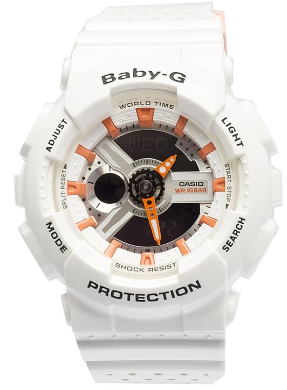 Наручные часы женские Casio Baby-G, цвет: белый, оранжевый. BA-110PP-7A2
