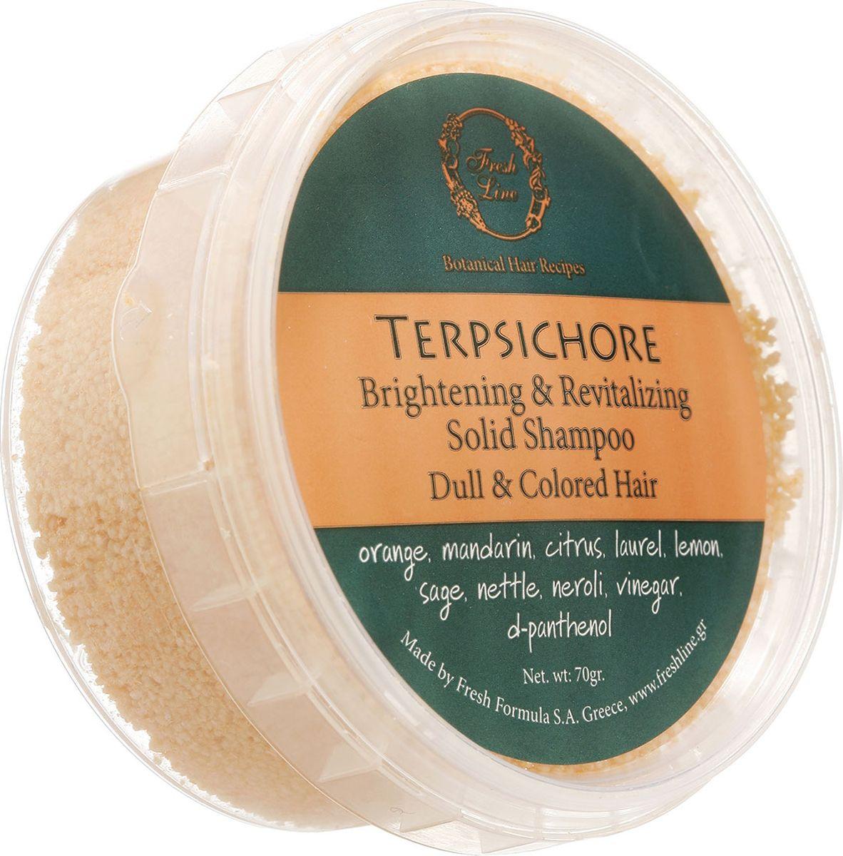Fresh Line Шампунь твердый для волос для силы и блеска Терпсихора, 70 г900620Содержит смесь тонизирующих и укрепляющих эфирных масел: лимона, апельсина, нероли, лавра благородного, кедра, шалфея мускатного. Придает сияние тусклым волосам. Также может применяться для волос с жирными корнями и сухими кончиками.