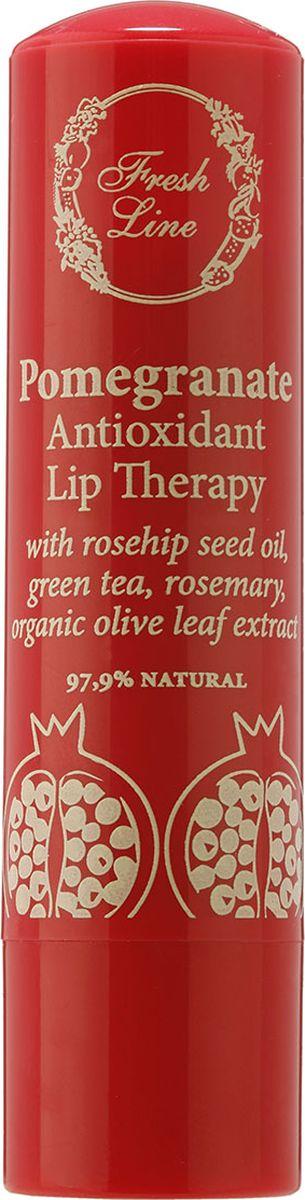 Fresh Line Бальзам для губ Гранат, 5,4 г910958Бальзам для губ на основе растительных экстрактов граната, листа оливы, зеленого чая и масла шиповника, обеспечивающих мощное антиоксидантное действие против свободных радикалов. Также содержит натуральный пчелиный воск, масло какао, органическое масло ши, органическое оливковое масло и стевию для эффективного увлажнения и комфорта губ. Придает нежный розовый оттенок и блеск.
