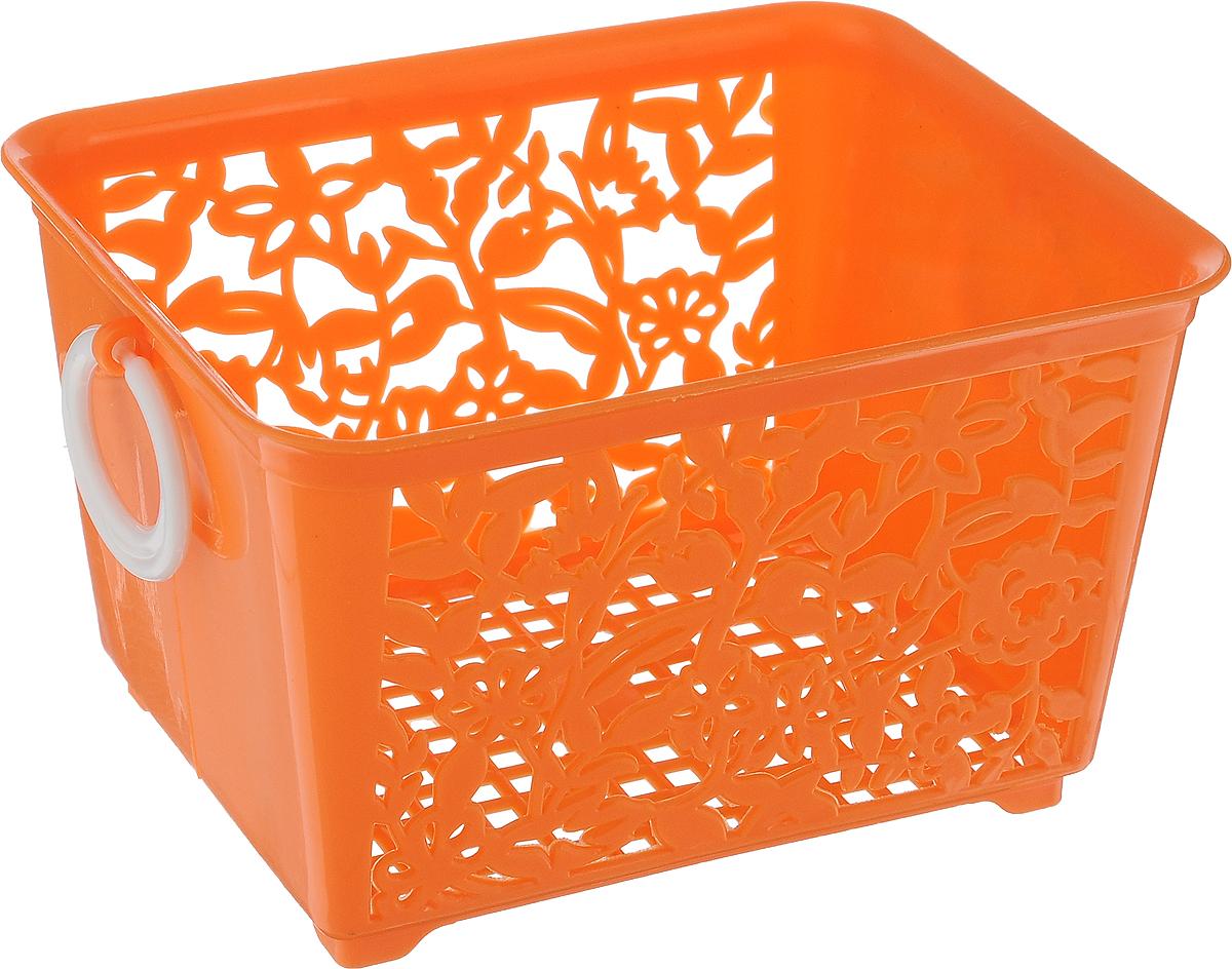 Корзина для мелочей Sima-land, цвет: оранжевый, 14 х 11,5 х 8,5 см184975_оранжевыйКорзина Sima-land, изготовленная из пластика, предназначена для хранения мелочей в ванной, на кухне или гараже. Позволяет хранить мелкие вещи, исключая возможность их потери. Корзина с двух сторон декорирована резным узором в виде цветов и дополнена решетчатым дном. Имеет две удобные ручки.
